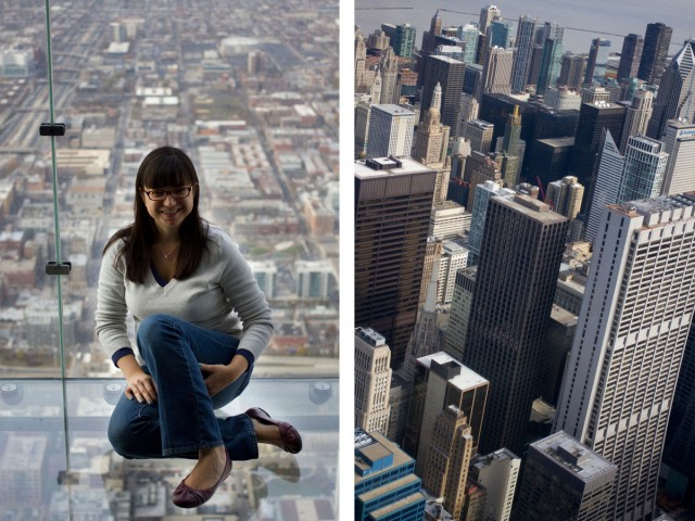 Erin at the top of the Sears Tower